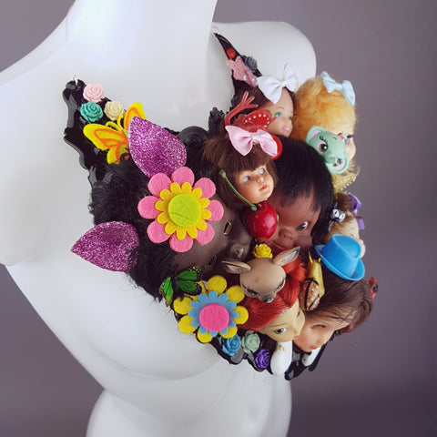 """Insanity"" Doll Head Statement Neckpiece, Wearable Art"