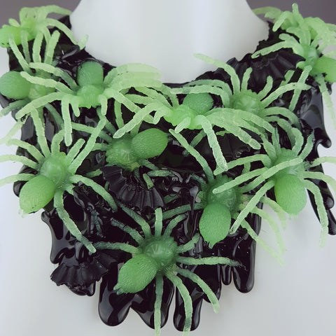 """Invasion"" Glow-in-the-dark Spiders Neckpiece"