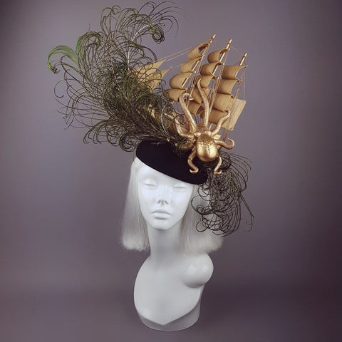 """Tempesta"" Gold Ship & Kraken Octopus Hat"
