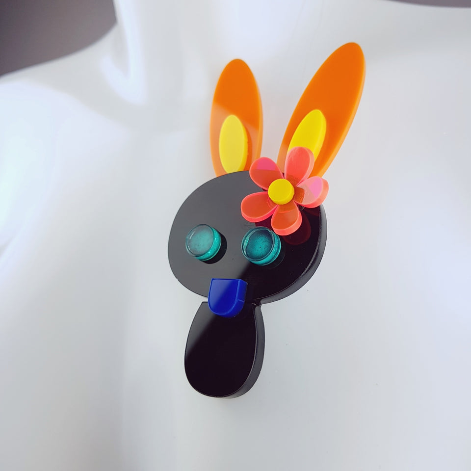 """Tootsy"" Large Acrylic Bunny Rabbit Brooch"
