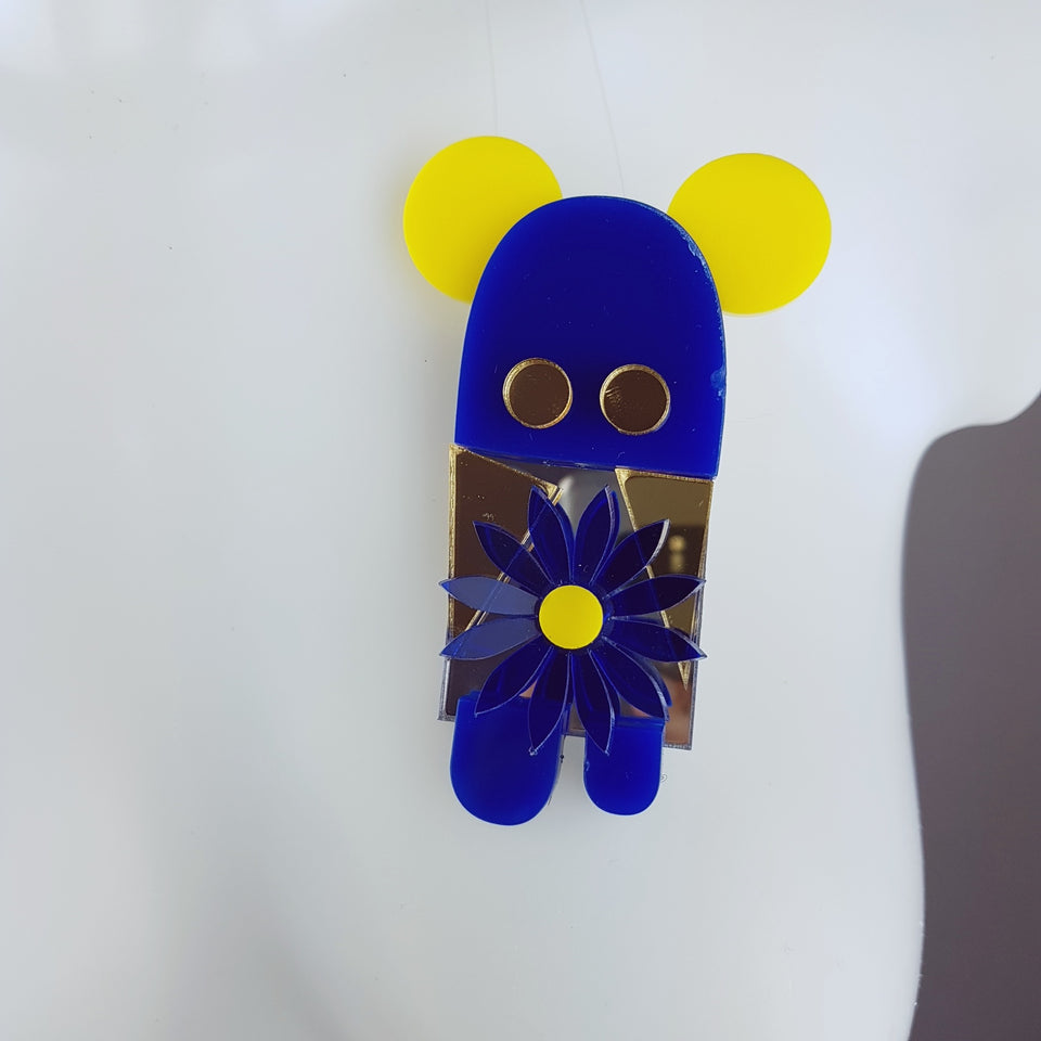 """The Flower Stealer"" Acrylic Monkey/Bear Brooch"