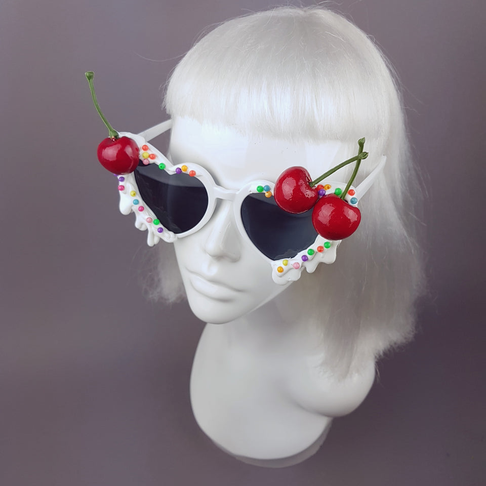 """Sugar Rush"" Cherries & Cream Heart Shaped Sunglasses"