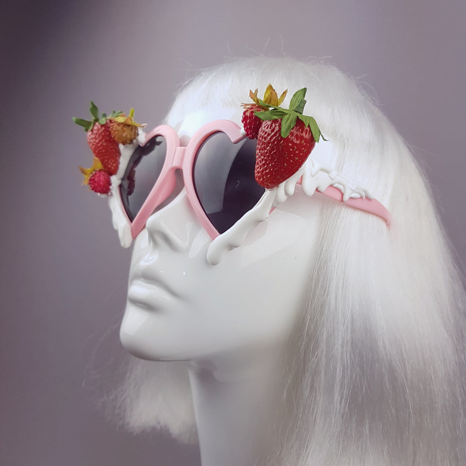 """Naughty but Nice"" Strawberries & Cream Heart Shaped Sunglasses"