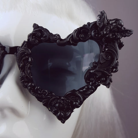 """Heart of Darkness"" Black Filigree Ornate Sunglasses"
