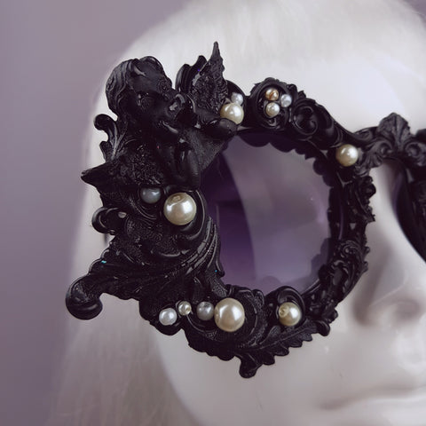 """Coven"" Black Filigree Ornate Sunglasses"