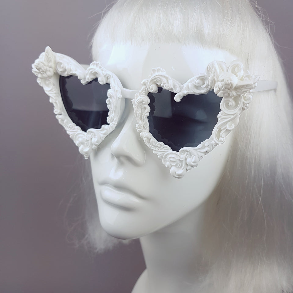 """Madame de Pompadour"" White Filigree Heart Shaped Sunglasses"