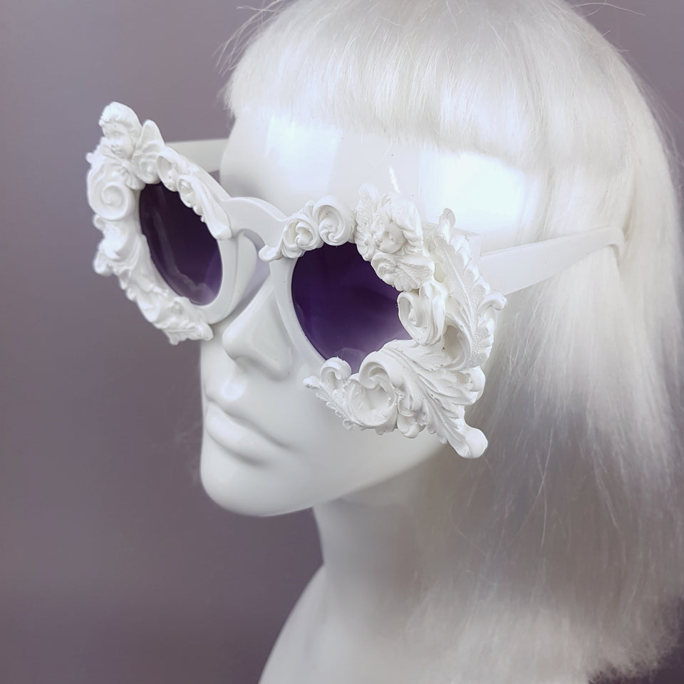 """Venus"" White Filigree & Cherub Baroque Sunglasses"