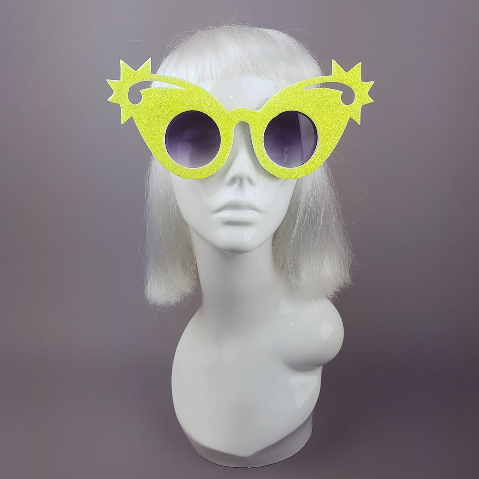 """Shooting Stars"" Neon Yellow Glitter Stars Sunglasses"