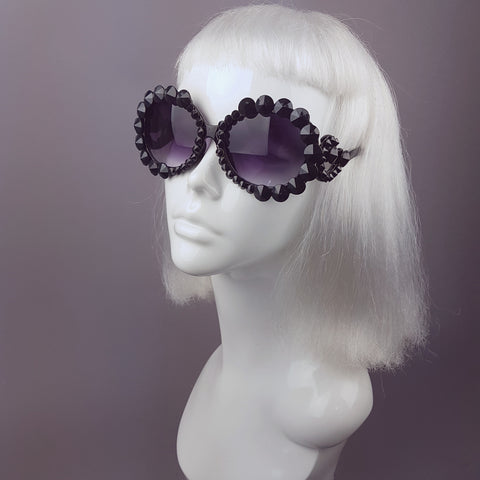 """Bordello"" Black Gem Ornate Sunglasses"