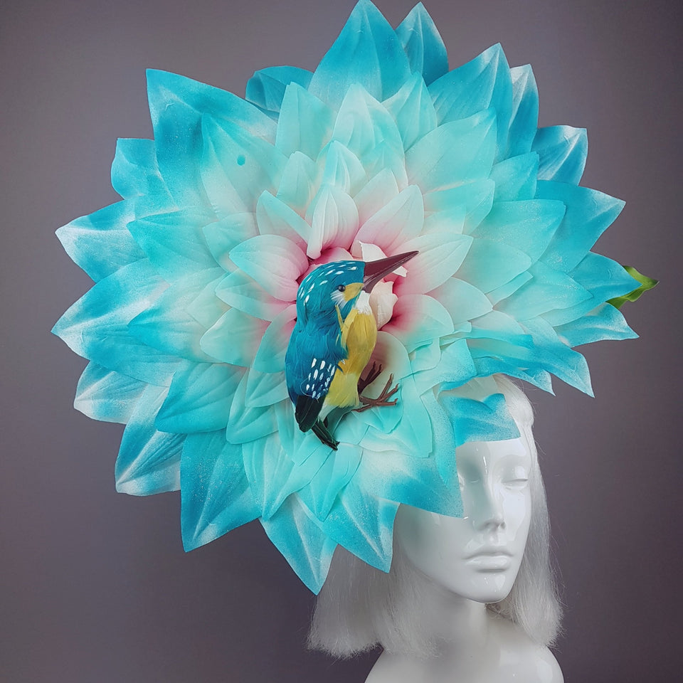 """Aine"" Giant Blue Flower & Kingfisher Hat"