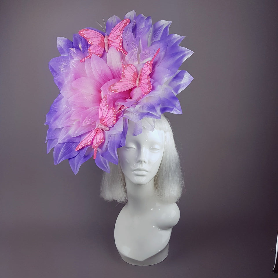 """Celeste"" Giant Pink Flower & Butterflies Hat"