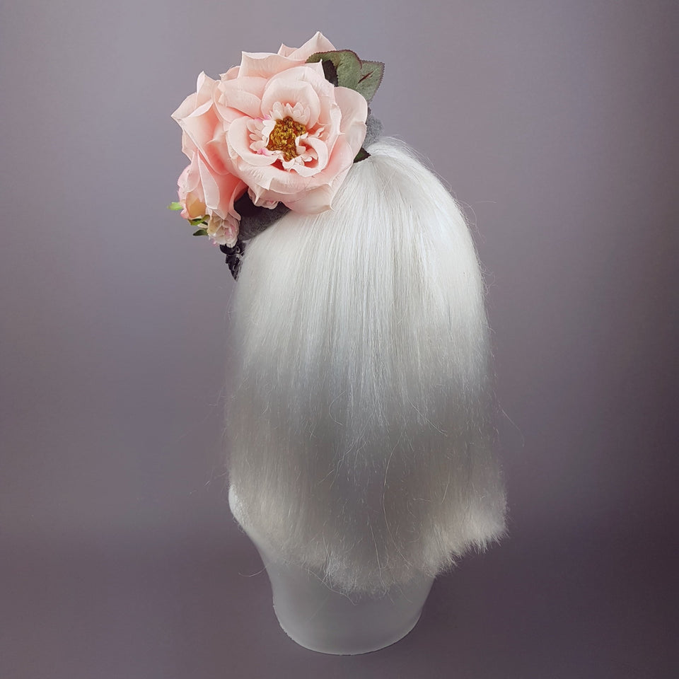 """Melisande"" Grey & Pink Rose Headpiece with Jewels"