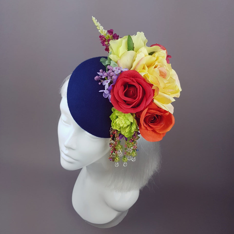 """Radella"" Colourful Flower & Navy Blue Headpiece"