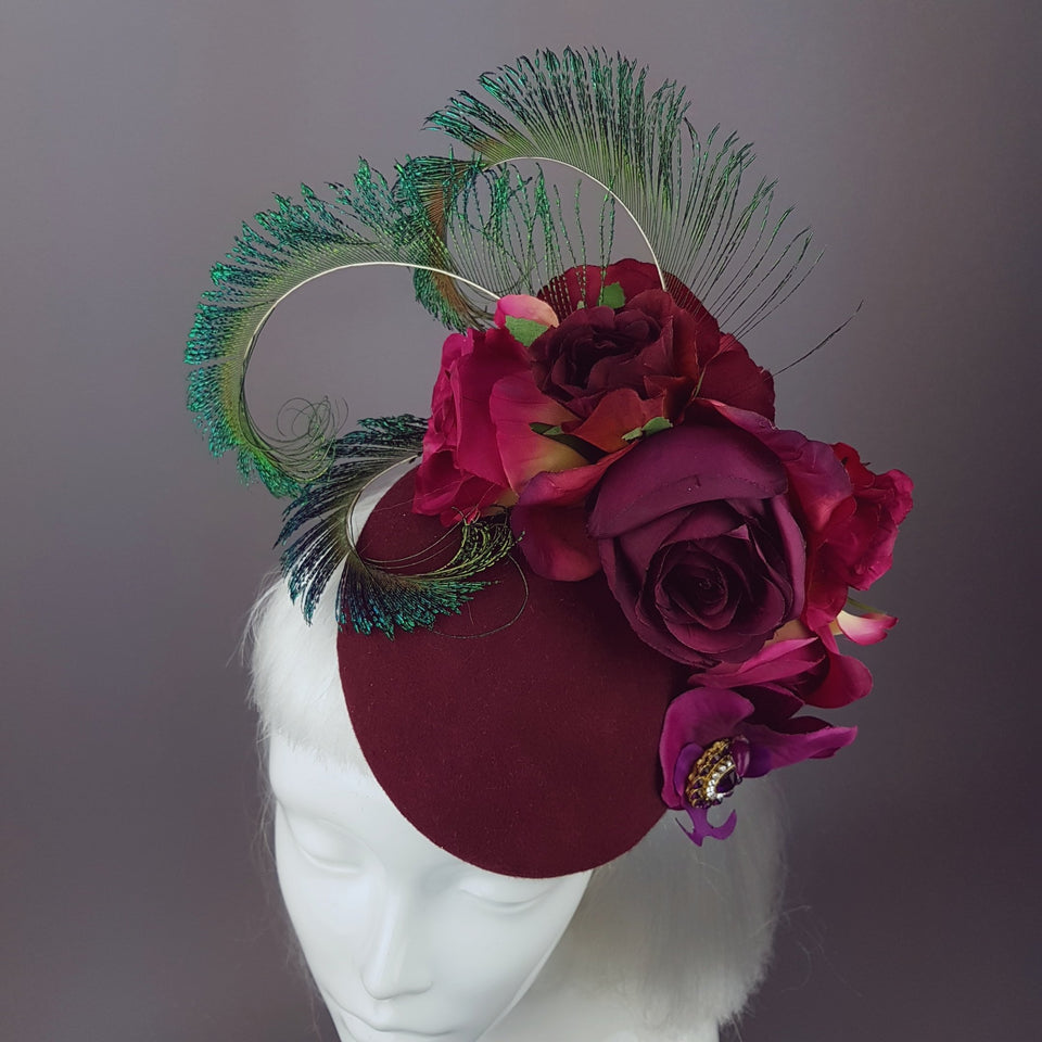 """Tiana"" Deep Pink/Red Rose Headpiece with Peacock Feathers"