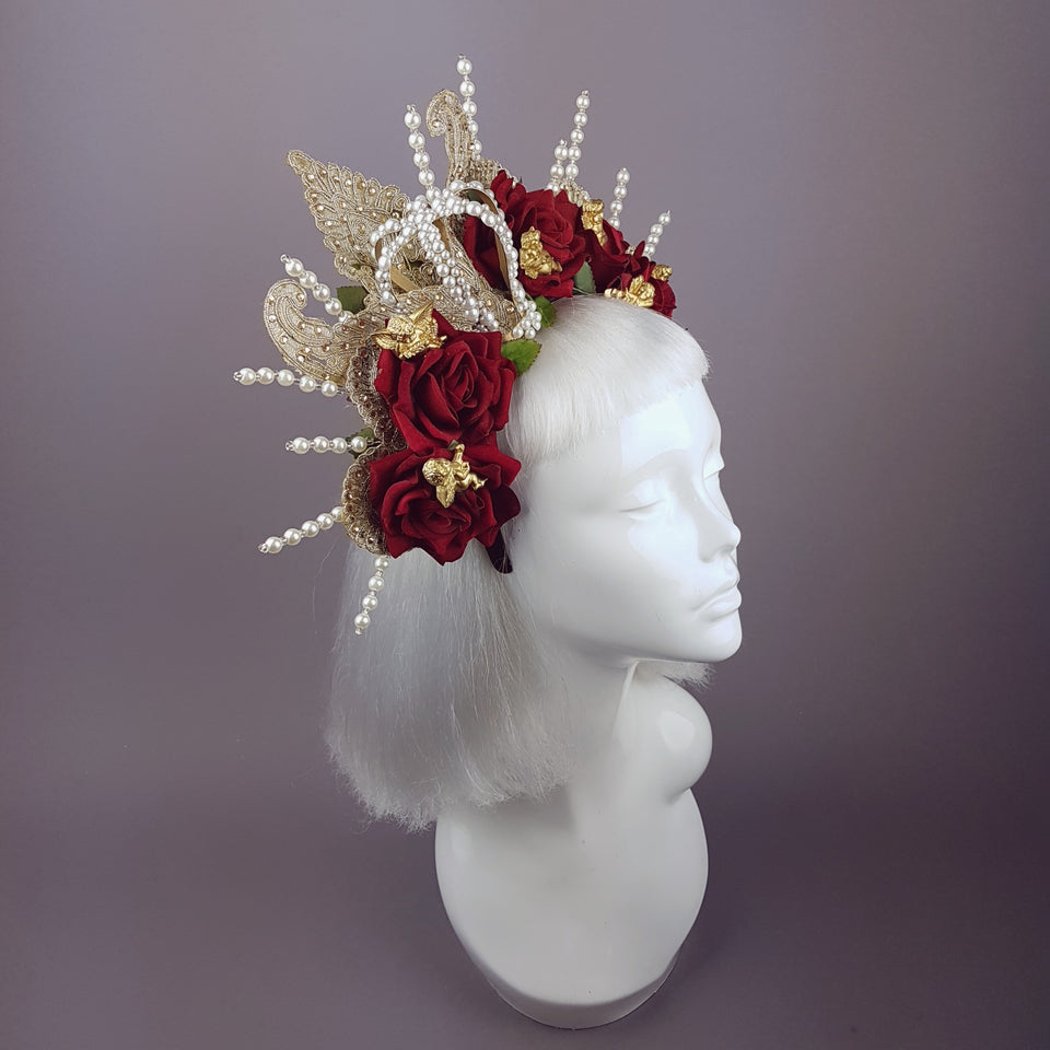 """Madonna"" Virgin Mary Rose Pearl Crown Halo"