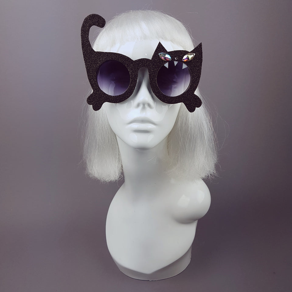 """Fierce"" Black Glitter Cat Sunglasses"