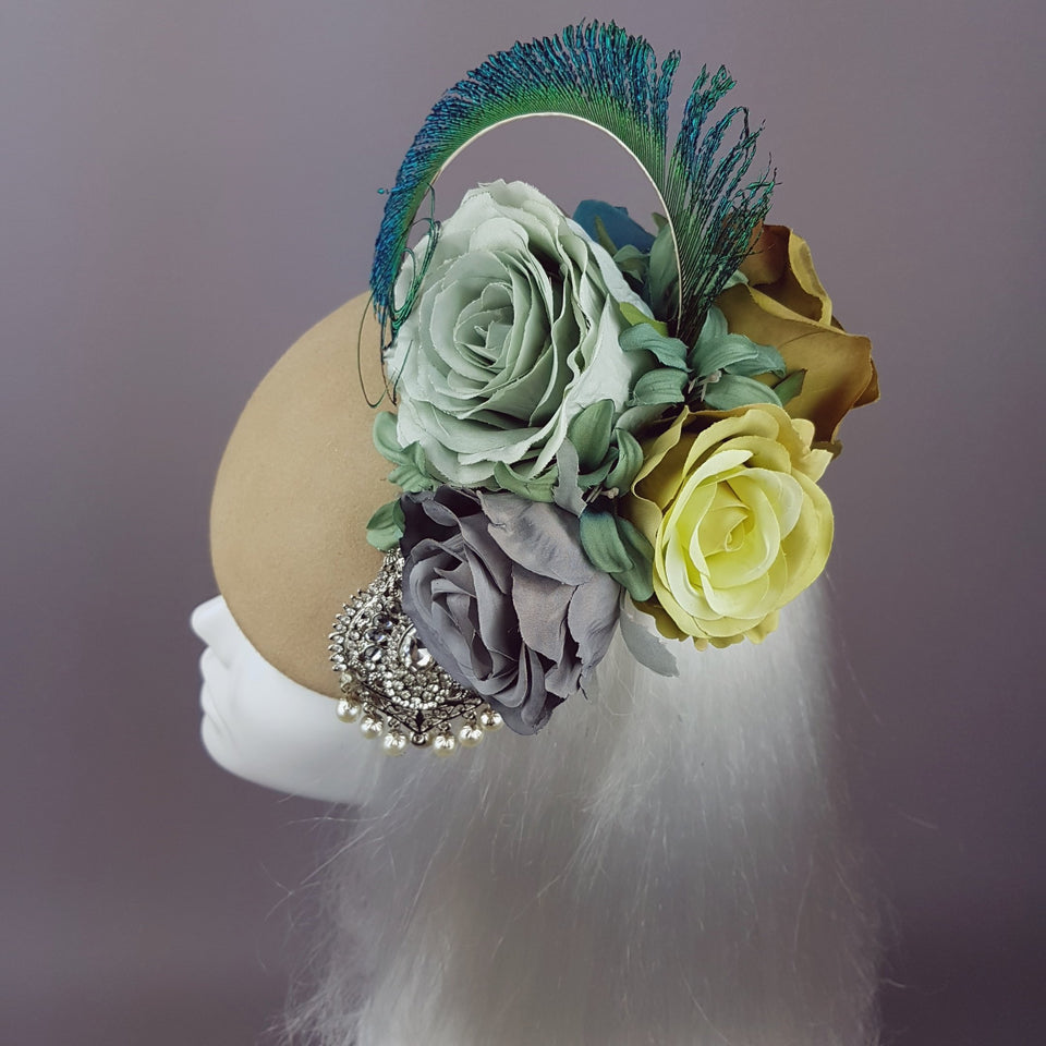 """Alexandra"" Bohemian Rose Headpiece with Peacock Feathers"