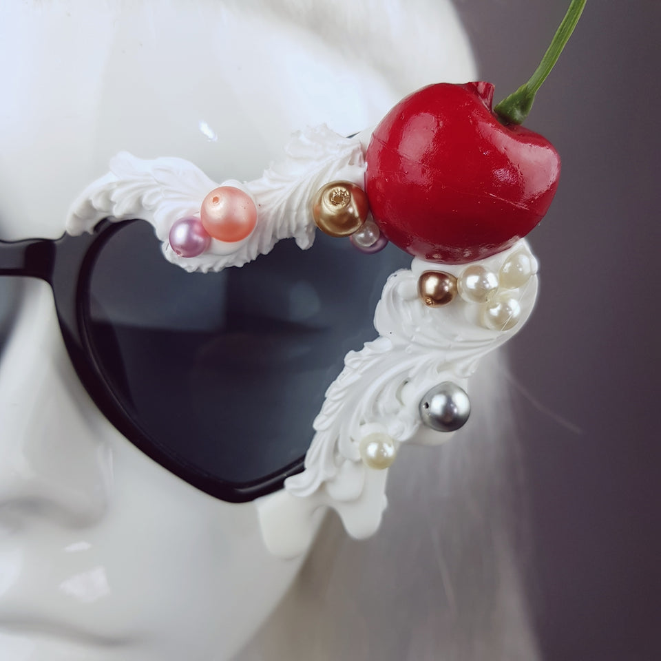 """Sweet As Sin"" Cherries & Cream Heart Shaped Sunglasses"