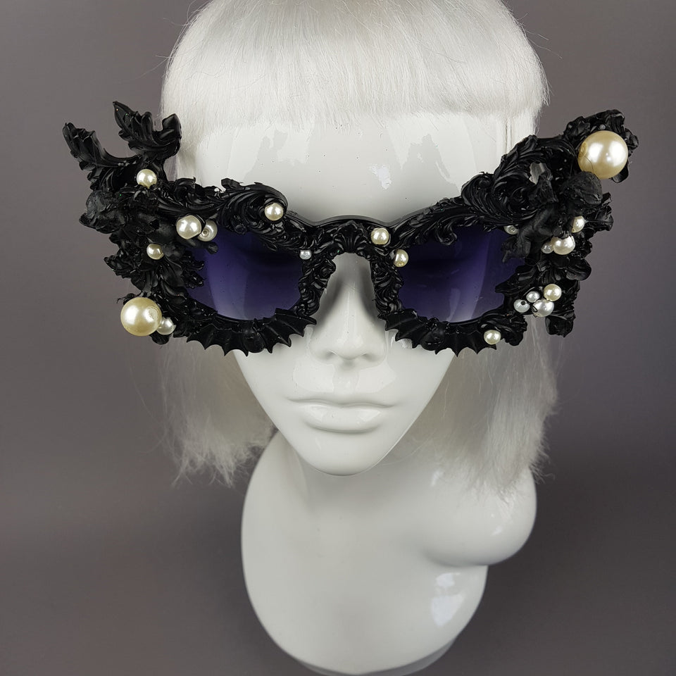"""Adrienne"" Black Filigree Ornate Bat Sunglasses"