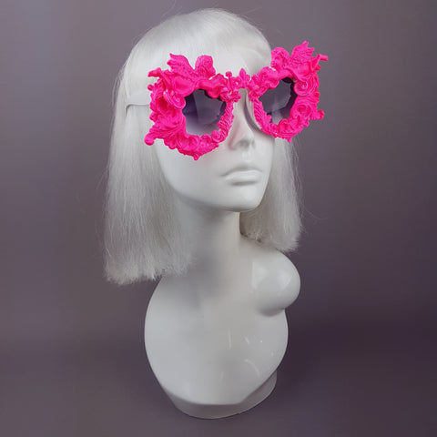 """Démoniaque"" Neon Pink Filigree & Cherub Sunglasses"