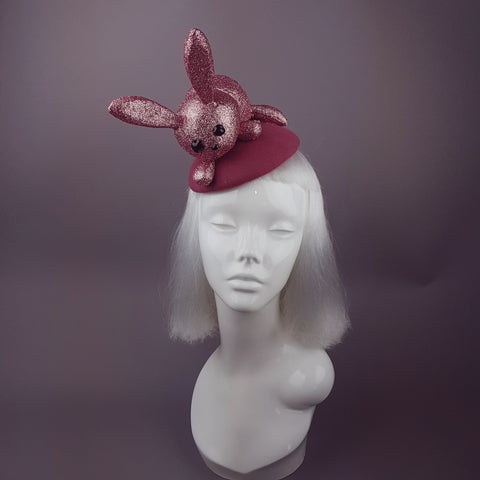 """Flopsy"" Pink Glitter Bunny Rabbit Fascinator Hat"