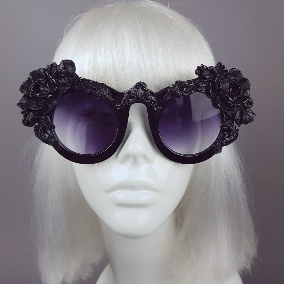 """Amaris"" Black Rose Filigree Ornate Sunglasses"