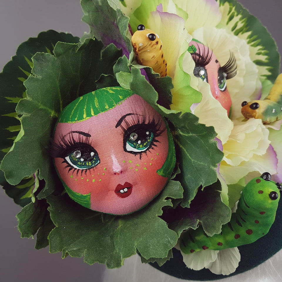 """Petit Chou"" Surreal Cabbages Doll Face Hat"