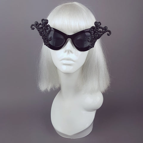"""Edna"" Black Filigree Ornate Sunglasses"