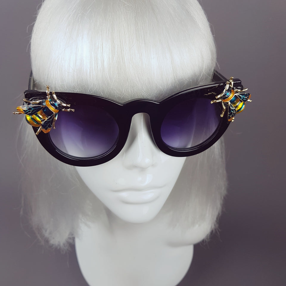 """Honey-B"" Black Teal Bee Sunglasses"