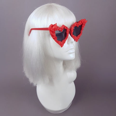 """Scarlett"" Red Baroque Heart Shaped Sunglasses"