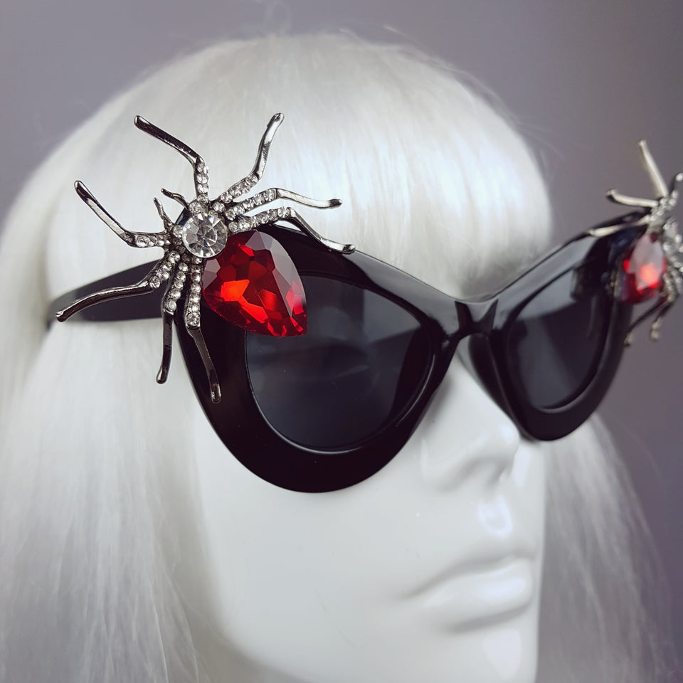 """Lure"" Red Jewel Spider Sunglasses"