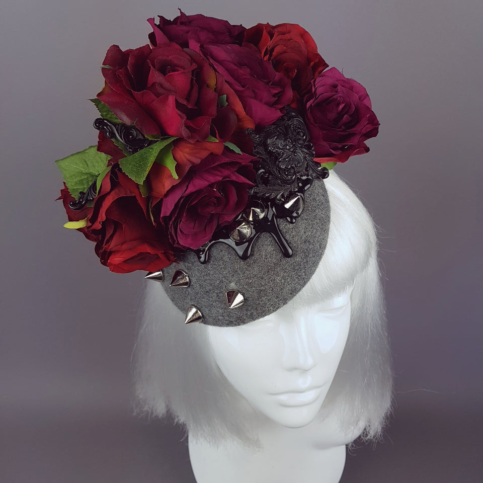 """Hecate"" Red Rose, Black Filigree & Spikes Hat"