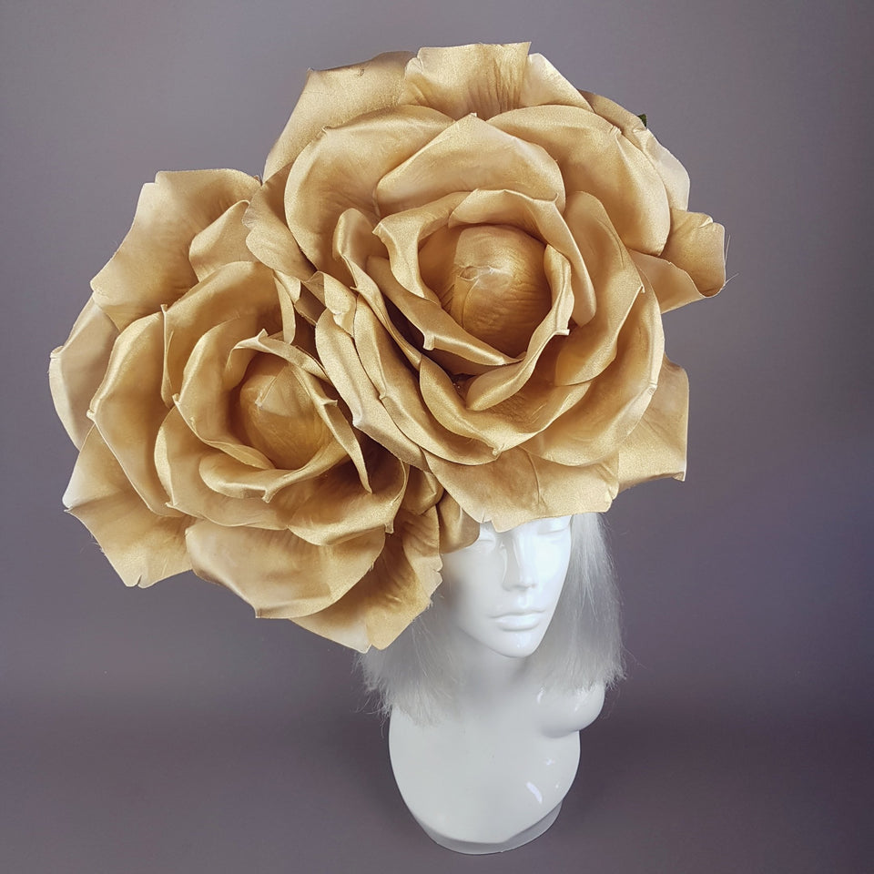 """Turaya"" Giant Gold Rose Headdress"
