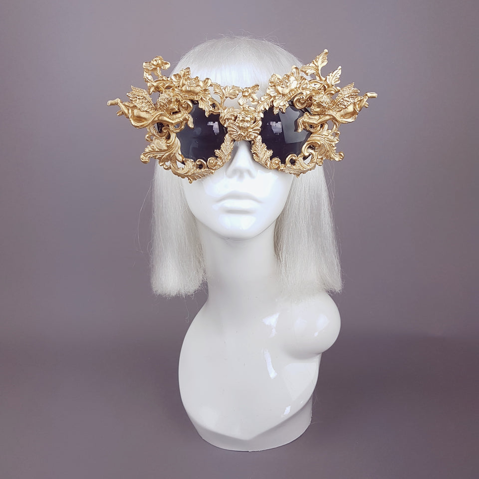 """Angelo"" Gold Filigree Ornate Sunglasses"