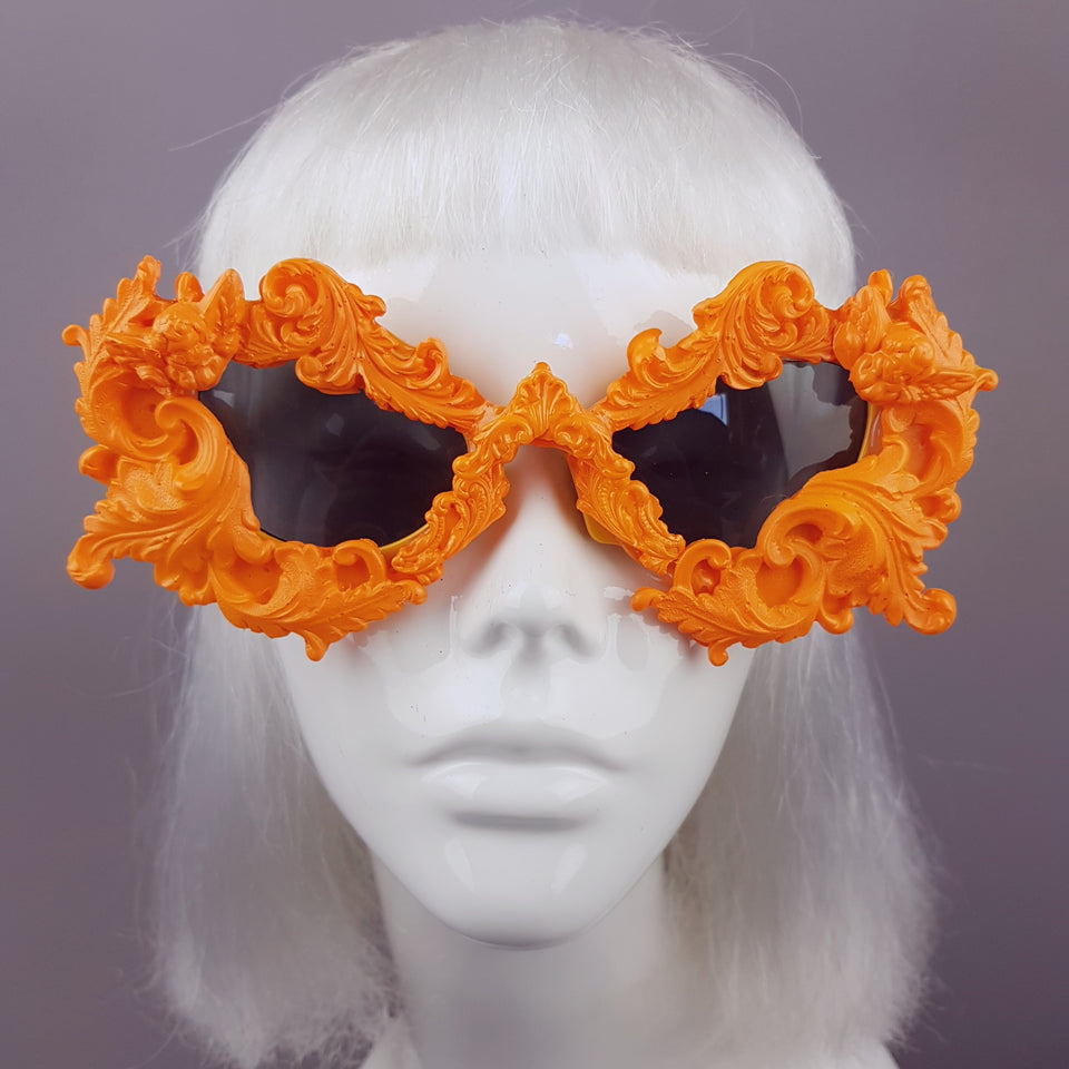 """Naranja"" Orange Filigree Ornate Sunglasses"