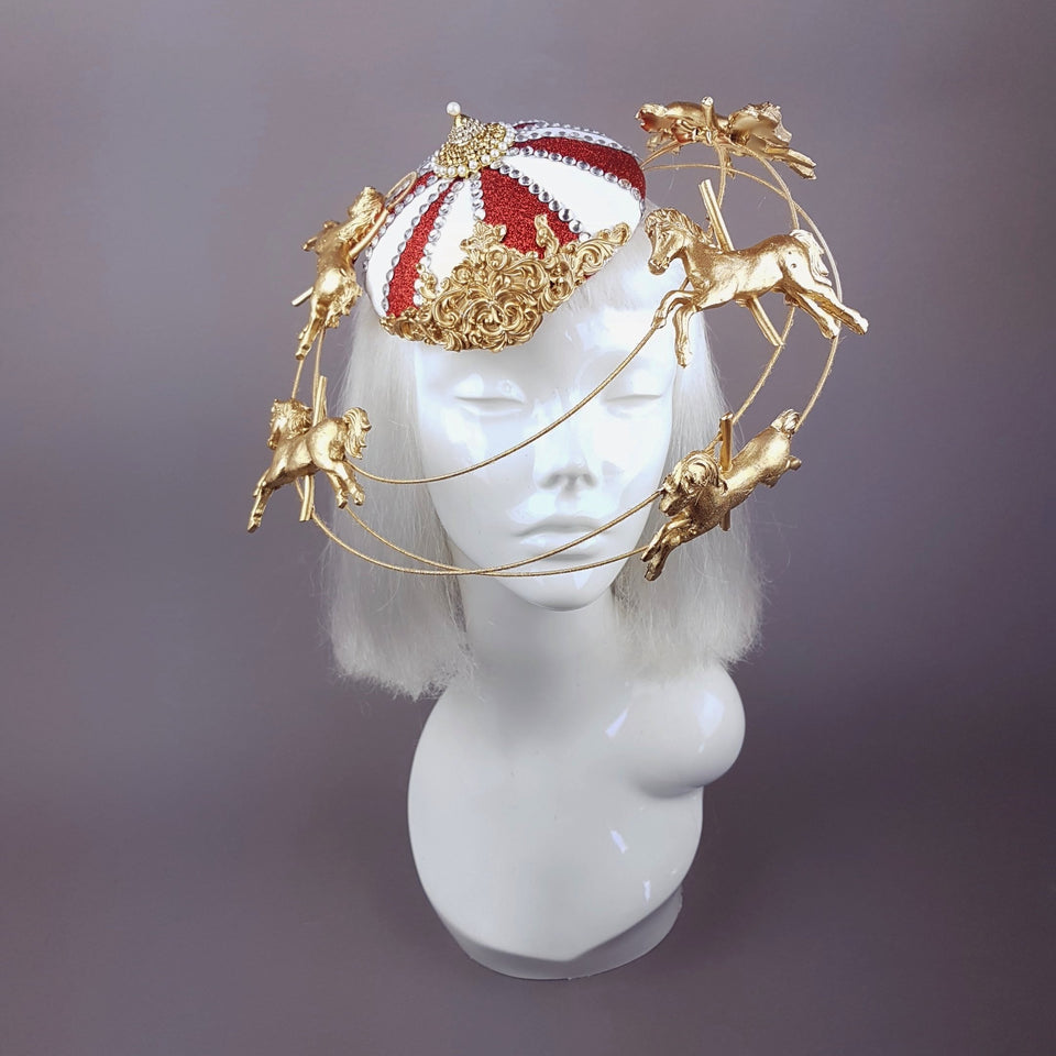 """Roll Up"" Circus Carousel Wired Veil Hat"