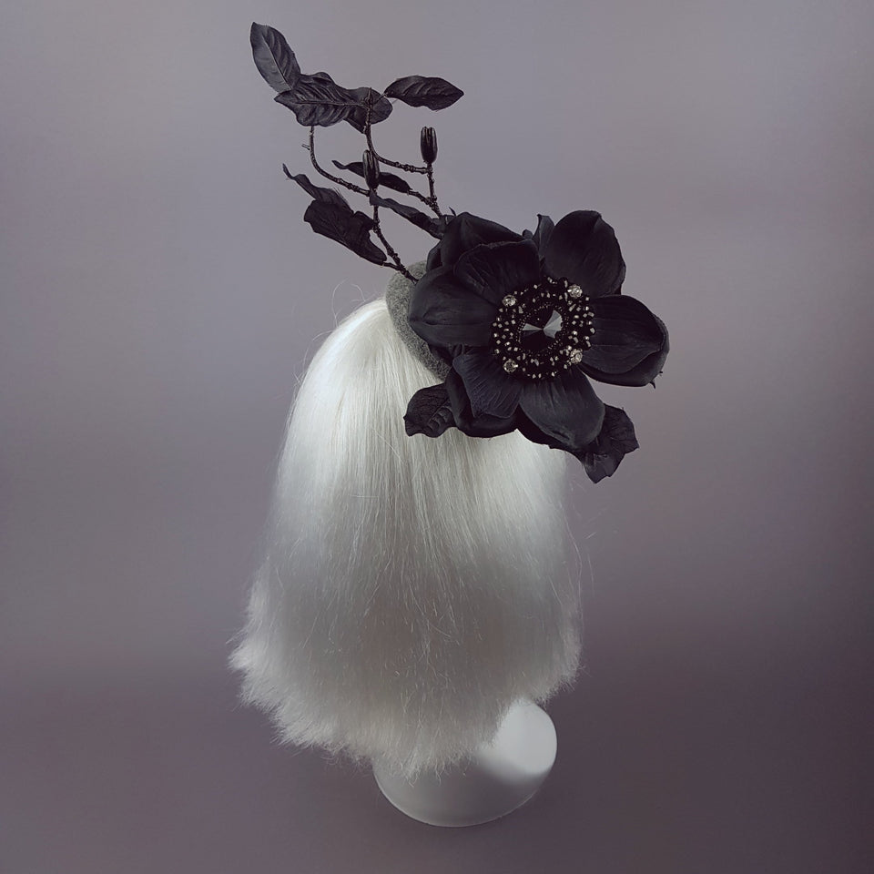 """Lethia"" Black & Grey Flower Fascinator"