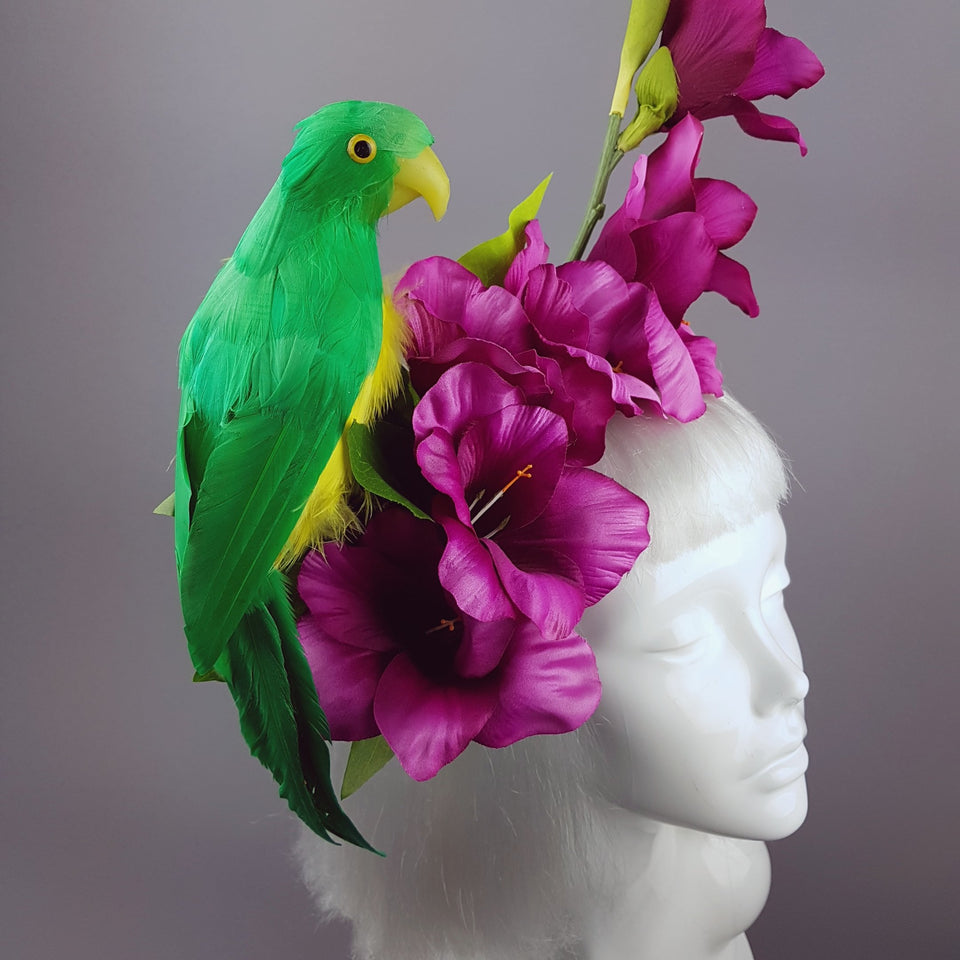 """Perroquet in Pink"" Parrot & Gladioli Tropical Flower Headpiece"