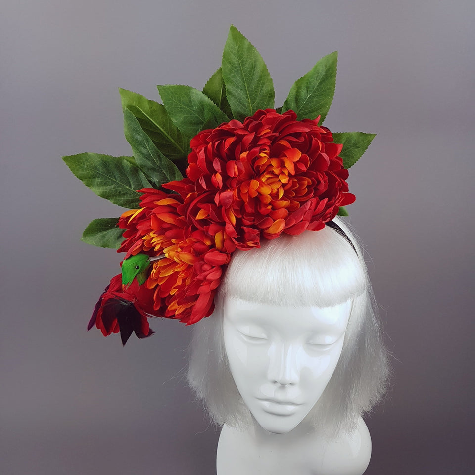 """Arethusa"" Chrysanthemum & Hummingbird Headpiece"