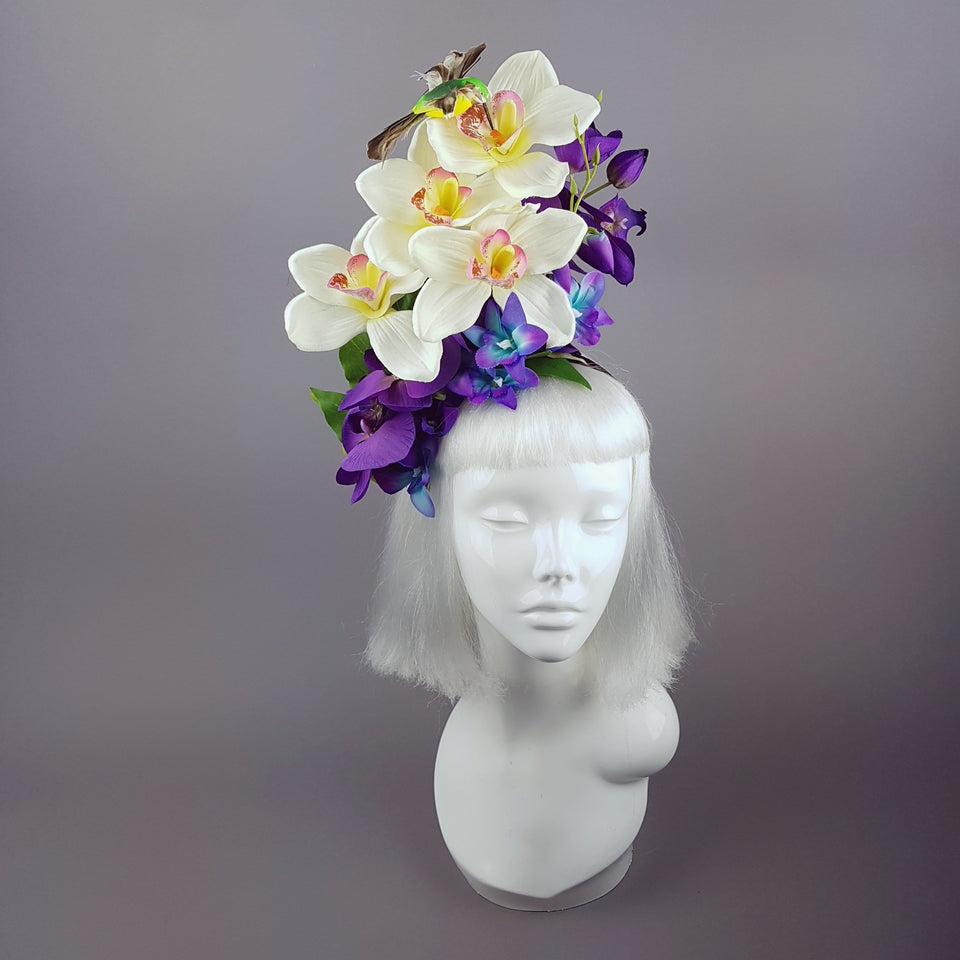 """Laila"" Colourful Orchid and Hummingbird Headpiece"