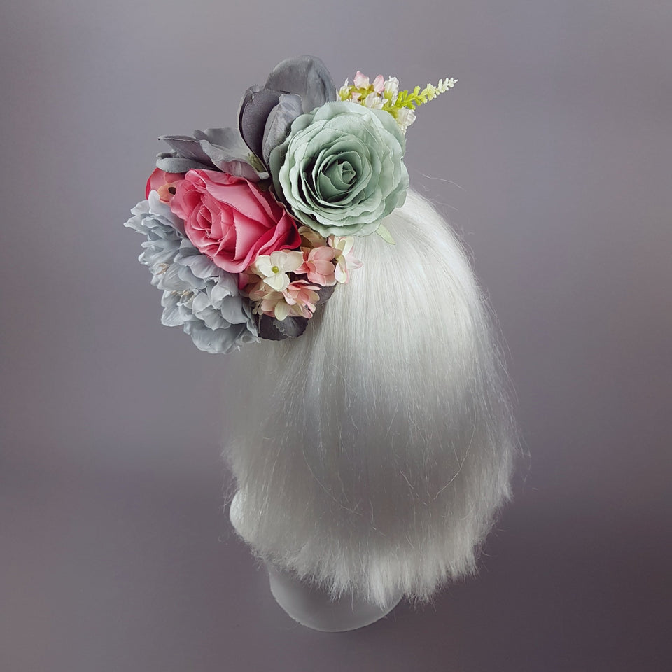 """Odelina"" Grey & Pink Floral Fascinator"