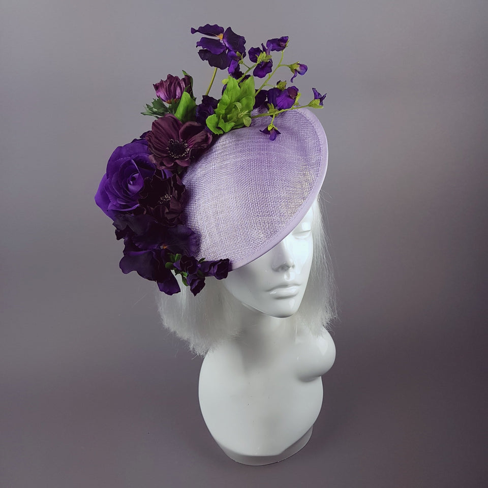 """Elvina"" Purple Floral Ascot Wedding Hat"