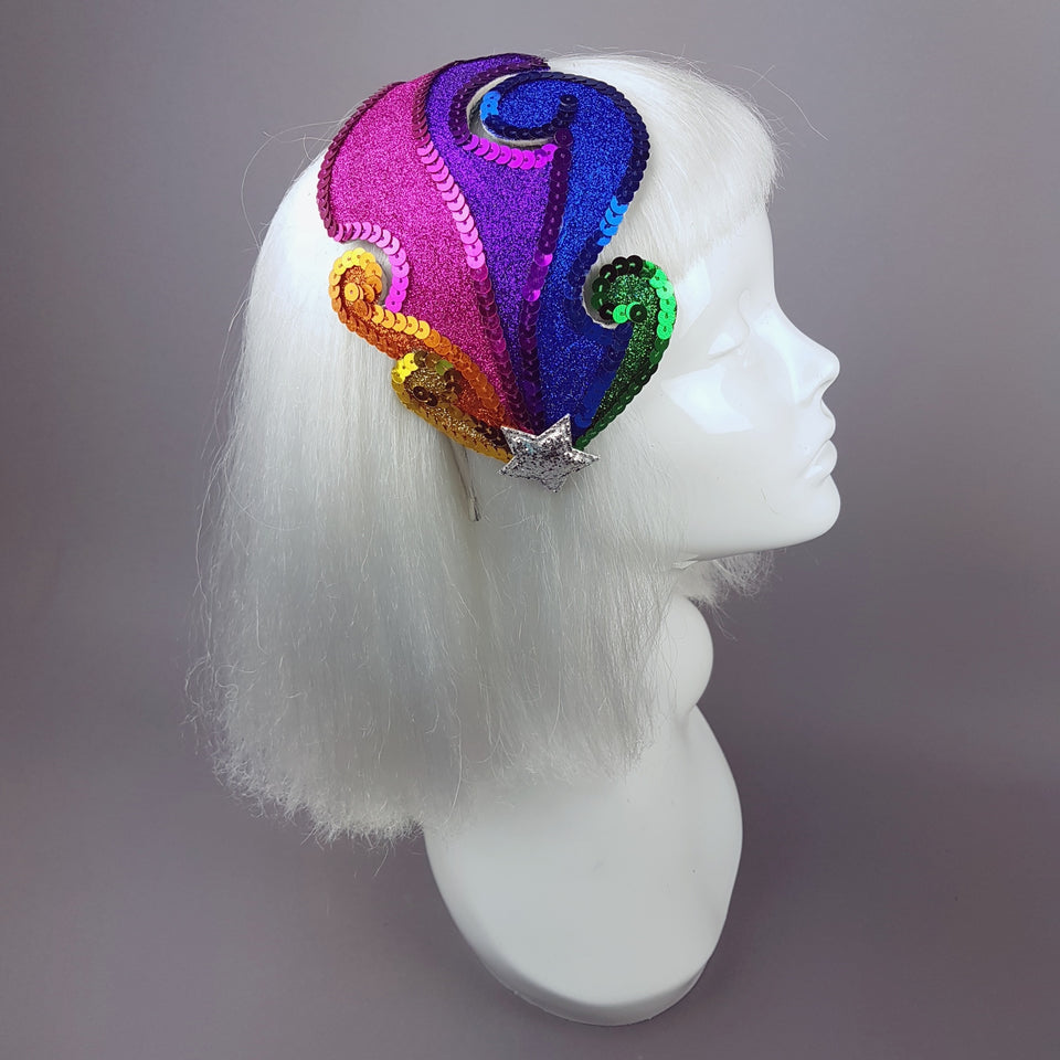 """Psychedelic Rainbow"" Colourful Glitter Fascinator Hat"