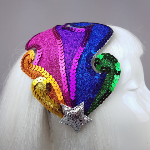 """Somewhere over the Rainbow"" Colourful Glitter Fascinator Hat"