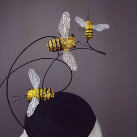 """Like Bees to..."" Glitter Bumble Bee Fascinator Hat"