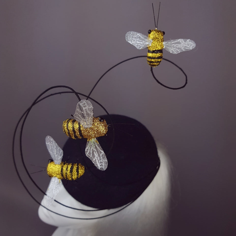 """Anthophila"" Buzzing Bees Fascinator Hat"