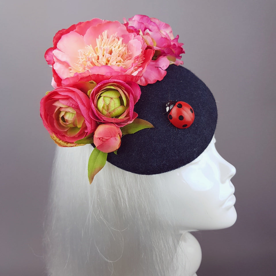 """Donella"" Pink Rose, Ladybird on Dark Grey Fascinator"