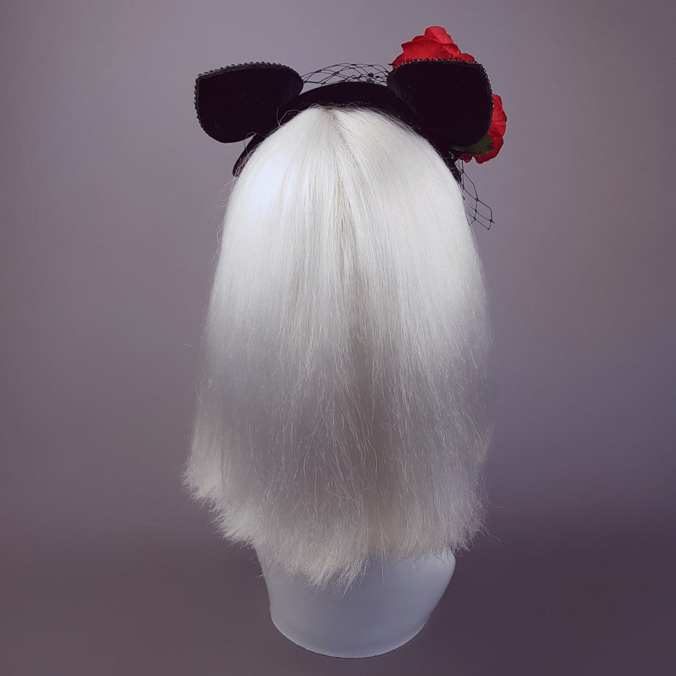 """Chatte"" Cat Ear Black Velvet Vintage Fascinator"