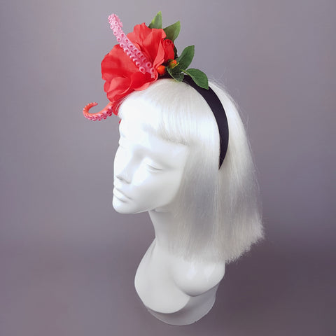"""Entwine"" Red Hibiscus Tentacle Headband"