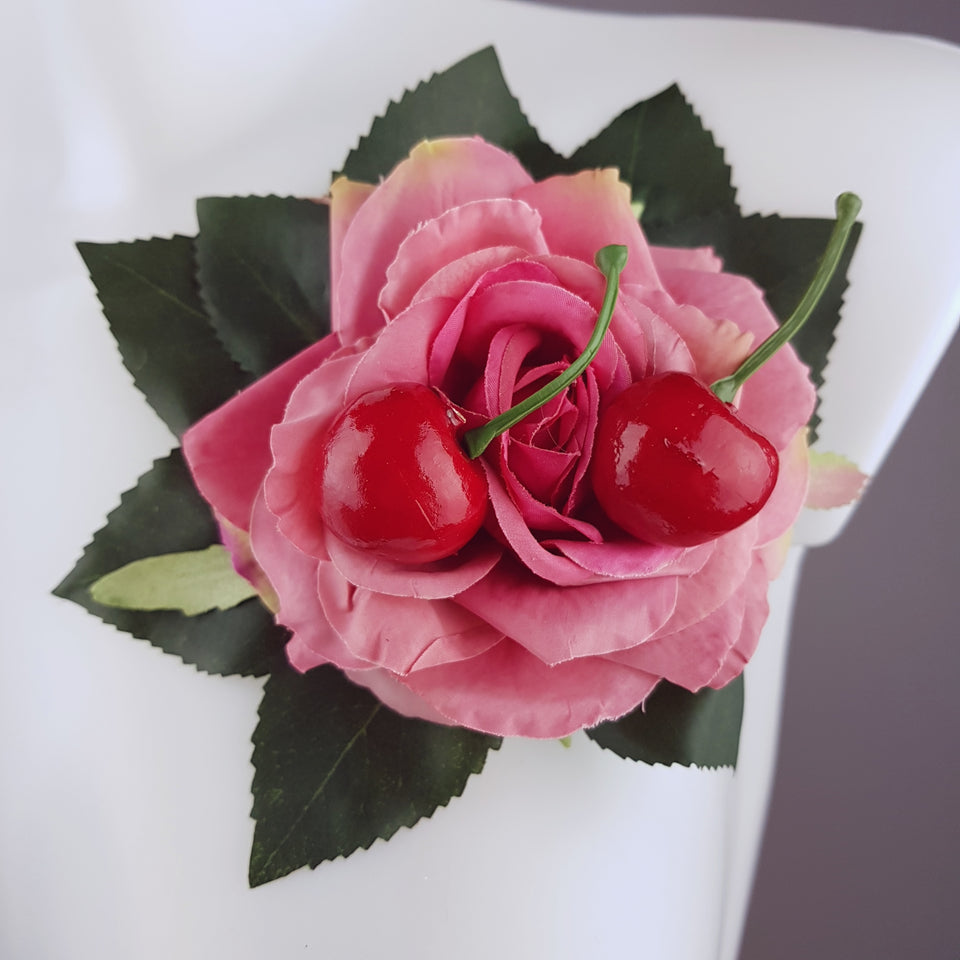 """Rossa"" Pink Rose & Cherry Corsage Brooch"